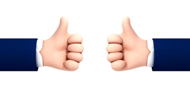 Vector cartoon menselijke hand duim omhoog voor succes of goede feedback geïsoleerd op een witte achtergrond. vectorillustratie van positief concept en als symbool.