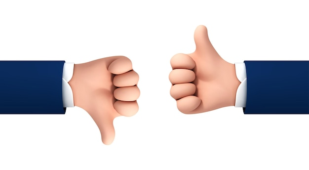 Vector cartoon menselijke handen duim omhoog en omlaag geïsoleerd op een witte achtergrond. vectorconcept houdt van en houdt niet van gebaar of symbool.