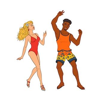 Vector cartoon mensen dansen op strand partij set