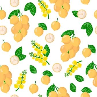 Vector cartoon naadloze patroon met baccaurea ramiflora of birmese druif exotisch fruit, bloemen en bladeren
