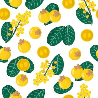 Vector cartoon naadloze patroon met byrsonima crassifolia of nance exotisch fruit, bloemen en bladeren