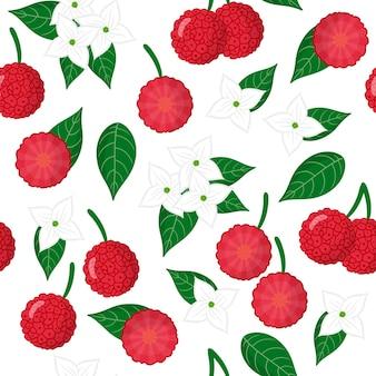 Vector cartoon naadloze patroon met cornus capitata of aardbeiboom exotisch fruit, bloemen en bladeren