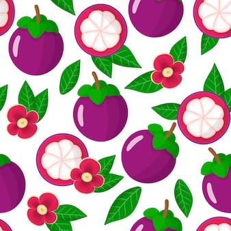 Vector cartoon naadloze patroon met garcinia mangostana of paars mangosteen exotisch fruit, bloemen en bladeren