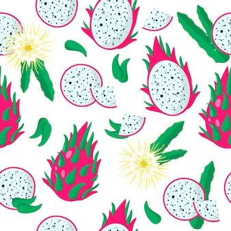 Vector cartoon naadloze patroon met hylocereus, undatus of dragon fruit exotisch fruit, bloemen en bladeren