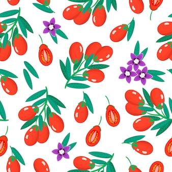 Vector cartoon naadloze patroon met lycium barbarum of goji exotisch fruit, bloemen en bladeren