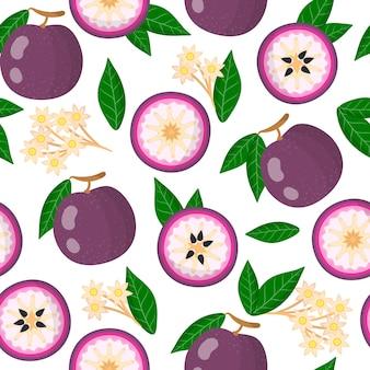 Vector cartoon naadloze patroon met paarse ster appel exotische vruchten, bloemen en bladeren op witte achtergrond