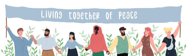 Vector cartoon plat gelukkig lachend karakters van verschillende status en rassen houden handen-mensen gelijkheid, diversiteit en vrede dag, internationale vriendschap en solidariteit sociaal concept, websiteontwerp