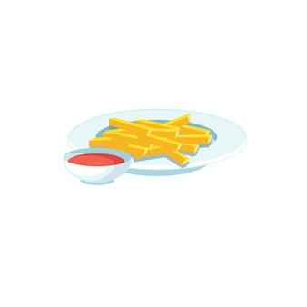 Vector cartoon platte frietjes op plaat met kopje saus geïsoleerd op lege achtergrond-fastfood dieet en gezond eten concept, website banner advertentie ontwerp