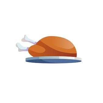 Vector cartoon platte hele gebakken kip op proberen geïsoleerd op lege achtergrond-gebalanceerd dieet, gezond eten en voedsel koken concept, website banner advertentie ontwerp
