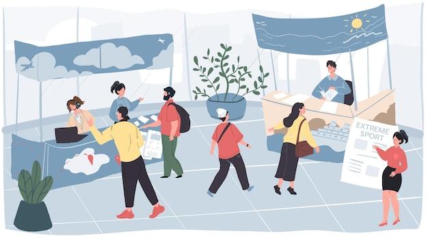 Vector cartoon platte karakters-exposanten en bezoekers op toerisme reizen expo conferentie. medewerkers van de tentoonstellingsmedewerkers informeren, geven adviezen en verkopen tourtickets bij advertentiestands aan reizigers en andere mensen