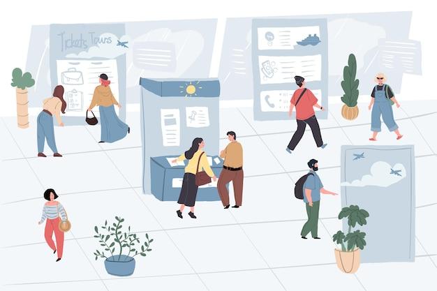 Vector cartoon platte karakters-exposanten en bezoekers op toerisme reizen expo show. medewerkers van de tentoonstellingsmedewerkers informeren, geven adviezen en verkopen tourtickets bij advertentiestands aan reizigers en andere mensen
