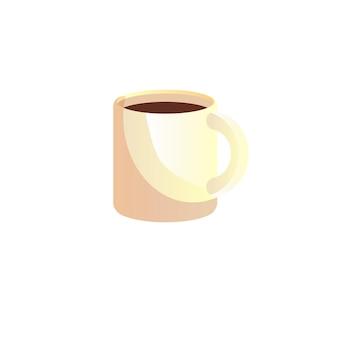 Vector cartoon platte kopje koffie geïsoleerd op lege achtergrond-restaurant, café en catering concept, website banner advertentie ontwerp