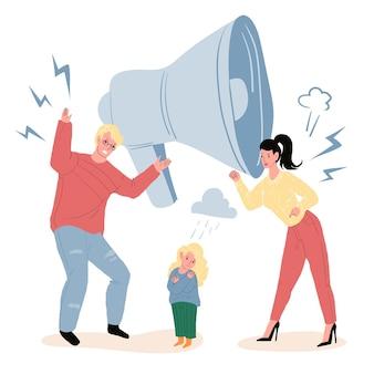 Vector cartoon platte ouders tekens ruzie, terwijl boos ongelukkig kind kijken. gezonde familierelaties, emoties, sociaal gedrag en psychologie concept, website banner advertentie ontwerp
