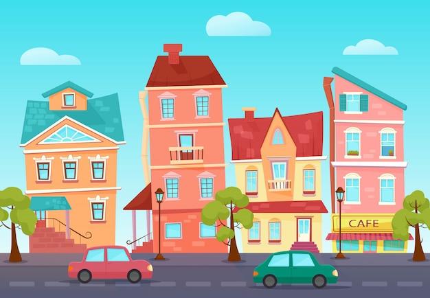 Vector cartoon schattig straat van een kleurrijke stad met winkels.