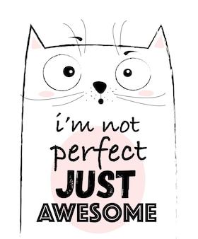 Vector cartoon schets grappige kat illustratie met schattige belettering zin