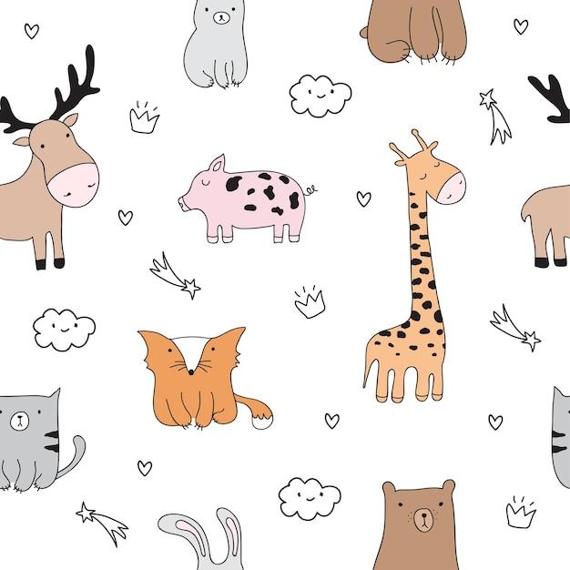 Vector cartoon schets illustratie met schattige doodle dieren