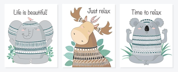 Vector cartoon schets meditatieve dieren illustratie met indiase ornament
