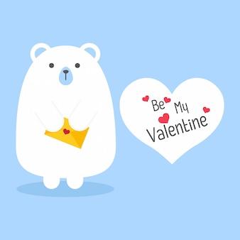 Vector cartoon stijl beer met envelop