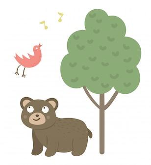 Vector cartoon stijl hand getekend platte beer, luisteren naar de zingende vogel onder de boom. grappige scène met teddy die pret heeft. leuke illustratie van bosdier om af te drukken