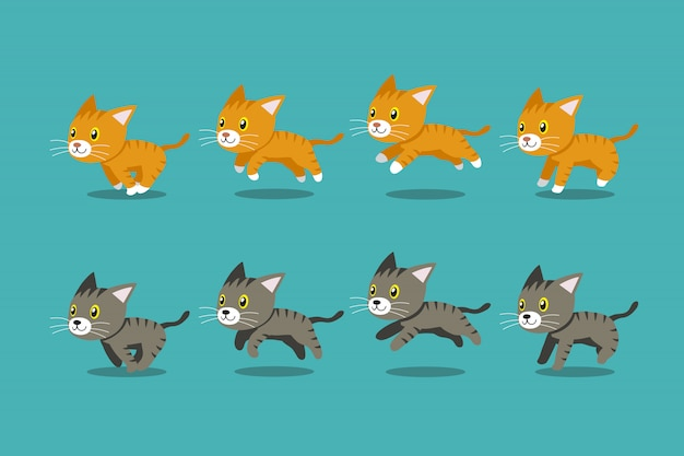 Vector cartoon tabby katten lopen stap
