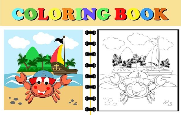 Vector cartoon van grappige krab op het eiland na het zeilen met een piratenschip kleurboek
