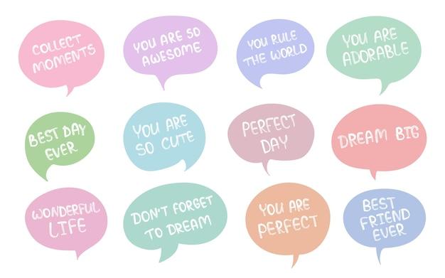 Vector cartoon verzameling stickers met schattige doodle dieren en motivatie belettering zin