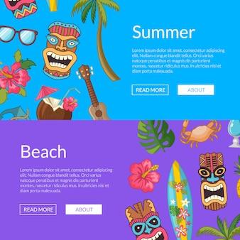Vector cartoon zomer reizen elementen web banner sjablonen illustratie