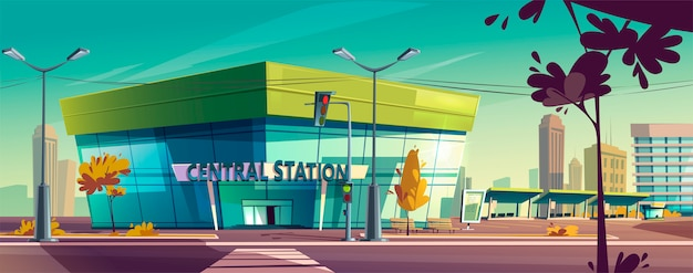 Vector centraal station op stadsstraat