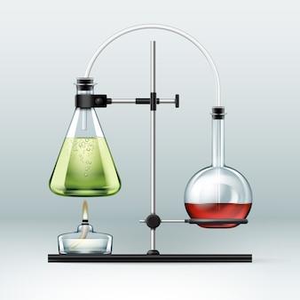 Vector chemisch laboratorium staan met glazen kolven vol met groene rode vloeistof en alcoholbrander geïsoleerd op de achtergrond