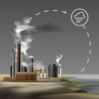 Vector chemische fabriek met rook uit pijpen en bewolkt weer, luchtverontreiniging concept
