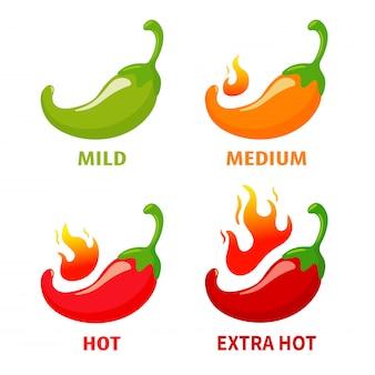 Vector chili pepers die heet zijn tot het vuur brandt. pittig mexicaans eten. isoleer op witte achtergrond.