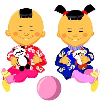 Vector chinese babyjongen en meisje in klederdracht en zit met een speelgoedpanda