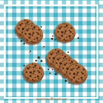 Vector chocolate chip cookie set
