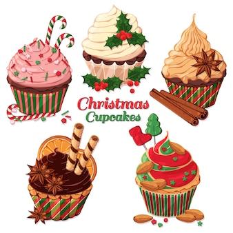 Vector christmas cupcakes versierd met snoepjes