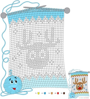 Vector christmas kleurplaat. taken voor kinderen kleuren op nummer in de vorm van een gebreide sjaal met de afbeelding van een hert