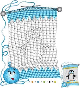 Vector christmas kleurplaat. taken voor kinderen kleuren op nummer in de vorm van een gebreide sjaal