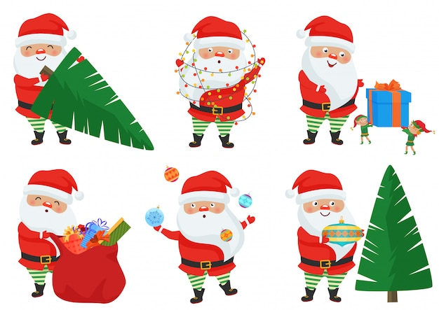 Vector christmas santa claus vormt set.