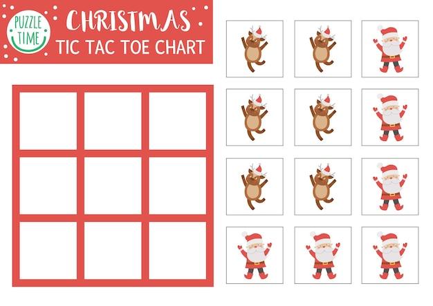 Vector christmas tic tac toe-kaart met schattige herten en santa claus winter bordspel speelveld