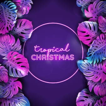 Vector christmas tropic neon banner, winter strandvakanties, monstera palm bladeren ontwerp, xmas tropische achtergrond, paradijs partij poster vectorillustratie, levendige paarse sjabloon met tekst plaats
