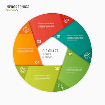 Vector cirkel grafiek infographic sjabloon. opties, stappen, onderdeel