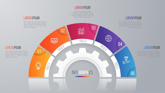 Vector cirkel grafieksjabloon voor infographics met opties.
