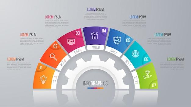 Vector cirkel grafieksjabloon voor infographics opties.