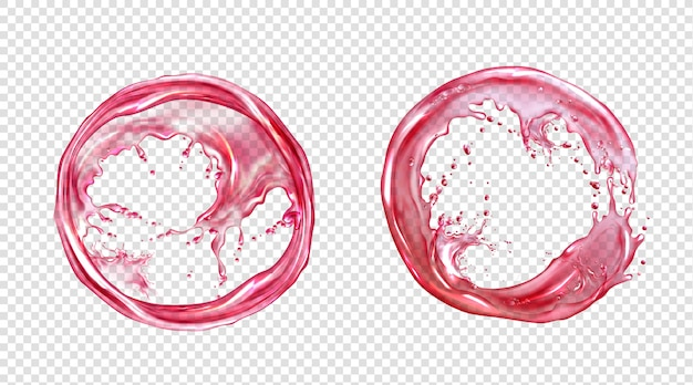 Vector cirkel splash van sap of roze water