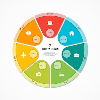 Vector cirkeldiagram cirkel infographic sjabloon met 7 opties
