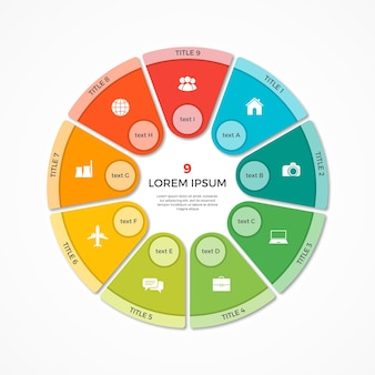 Vector cirkeldiagram cirkel infographic sjabloon met 9 opties