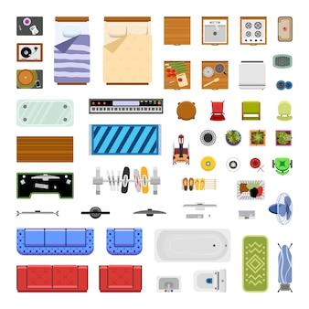Vector collectie meubels en woonaccessoires