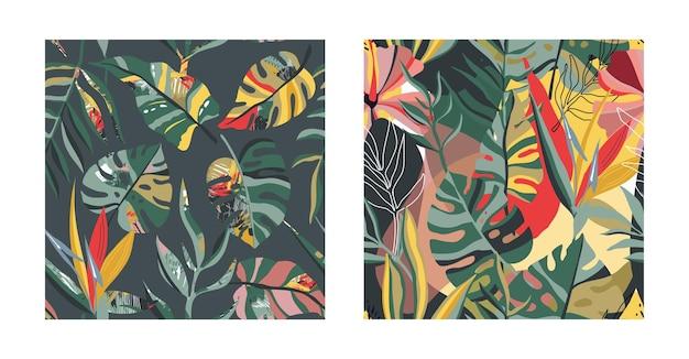Vector collectie trendy creatieve zomer naadloze patronen met bloemen exotische tropische elementen