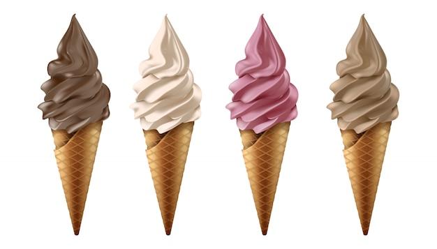 Vector collectie van bevroren yoghurt of ijs in chocolade, vanille, aardbei en koffie smaak.