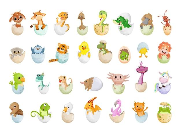 Vector collectie van dieren in eierschalen.