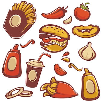 Vector collectie van fast-food objecten en ingrediënt